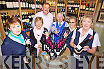 TASTE THE WINE: Some of the staff and volunteers with the Kerry Parents and Friends Centre in Listowel who will be holding a wine-tasting fundraiser as part of the Listowel Food Fair in November with Pierce Walsh of John R's Delicatessen, l-r: Margaret Hegarty, Margaret McAuliffe, Pierce Walsh, Oliver O'Neill, Nora Canty, Kathleen Houlihan.