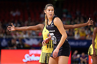 11.08.2015 Silver Ferns Kayla Cullen in action during the Silver Ferns v Jamaica netball match at the 2015 Netball World Cup at All Phones Arena in Sydney Australia. Mandatory Photo Credit ©Michael Bradley.