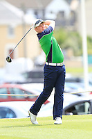 Eanna Griffin (Waterford)) on the 1st tee during the Quarter Finals of The South of Ireland in Lahinch Golf Club on Tuesday 29th July 2014.<br /> Picture:  Thos Caffrey / www.golffile.ie