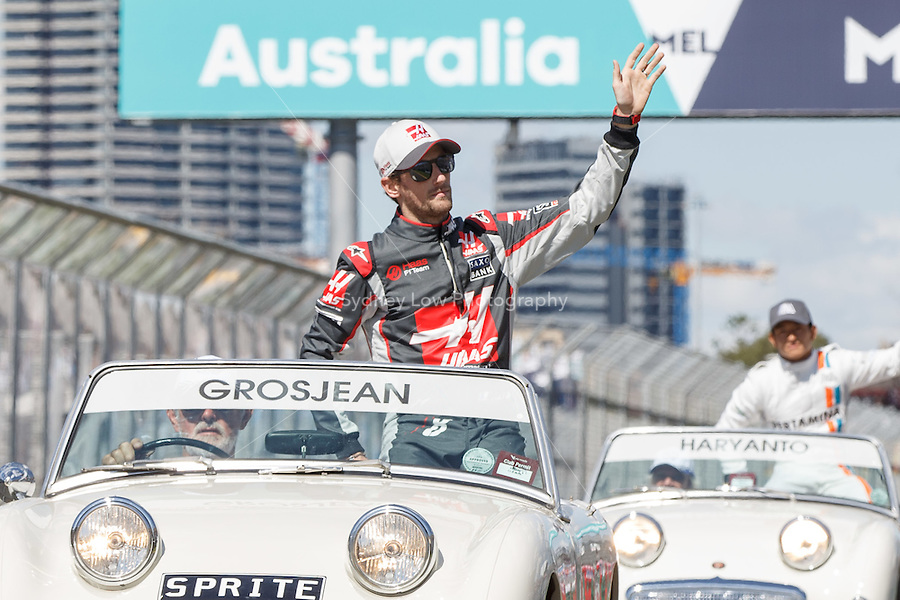 March 20, 2016: Romain Grosjean (FRA) #8 from the Haas F1 Team at the drivers' parade prior to the 2016 Australian Formula One Grand Prix at Albert Park, Melbourne, Australia. Photo Sydney Low