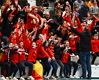 20200201 Herentals , BELGIUM :  Belgian fans celebrate during a futsal indoor soccer game between the Belgian Futsal Devils of Belgium and Montenegro on the third and last matchday in group B of the UEFA Futsal Euro 2022 Qualifying or preliminary round , Saturday 1st February 2020 at the Sport Vlaanderen sports hall in Herentals , Belgium . PHOTO SPORTPIX.BE | Sevil Oktem