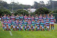 The Atletico team pose for a group photo before the rugby match between Scots College Invitation XV and Club Atletico del Rosario Under-19s at Evan's Bay Park in Wellington, New Zealand on Wednesday, 28 February 2018. Photo: Dave Lintott / lintottphoto.co.nz