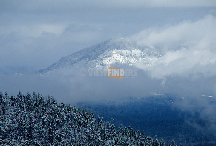 Snow and Cloud Covered Mountain in Rogue River Valley
