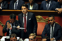Matteo Salvini, Giuseppe Conte and Luigi Di Maio<br /> Rome August 20th 2019. Senate. Speech of the Prime Minister about the crisis of Government. Just after the speech the Premier went to the President of the Republic to resign<br /> Foto  Insidefoto