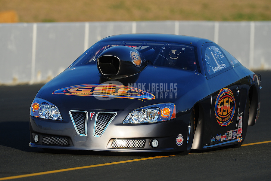 Jul. 29, 2011; Sonoma, CA, USA; NHRA pro stock driver Gordie Rivera during qualifying for the Fram Autolite Nationals at Infineon Raceway. Mandatory Credit: Mark J. Rebilas-
