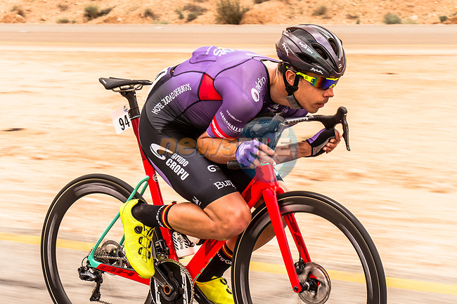 Angel Fuentes Paniego (ESP) Burgos BH from the breakaway in action during Stage 2 of the Saudi Tour 2020 running 187km from Sadus Castle to Al Bujairi, Saudi Arabia. 5th February 2020. <br /> Picture: ASO/Kåre Dehlie Thorstad | Cyclefile<br /> All photos usage must carry mandatory copyright credit (© Cyclefile | ASO/Kåre Dehlie Thorstad)