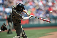 Vanderbilt Commodores first baseman Julian Infante (22) swings the bat during Game 3 of the NCAA College World Series against the Louisville Cardinals on June 16, 2019 at TD Ameritrade Park in Omaha, Nebraska. Vanderbilt defeated Louisville 3-1. (Andrew Woolley/Four Seam Images)