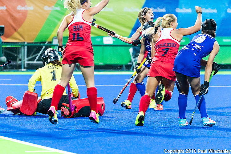 Katie Bam #16 of United States and Kelsey Kolojejchick #7 of United States celebrate a goal during USA vs Japan in a Pool B game at the Rio 2016 Olympics at the Olympic Hockey Centre in Rio de Janeiro, Brazil.