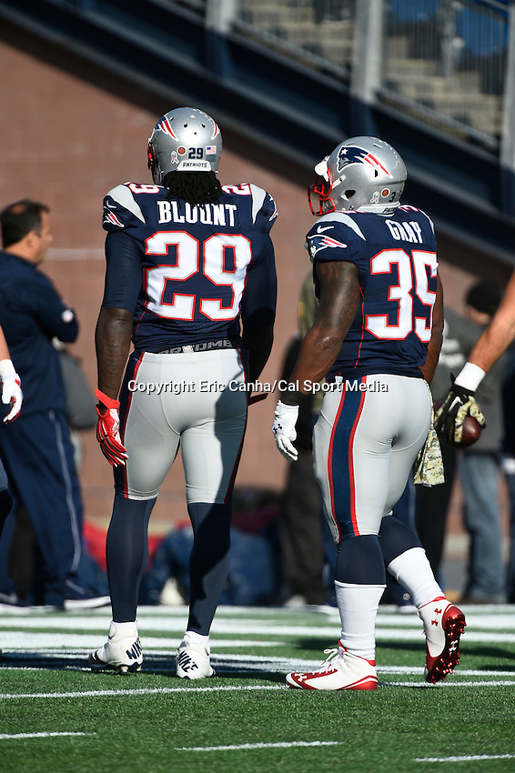 November 23, 2014 - Foxborough, Massachusetts, U.S.- New England Patriots running back LeGarrette Blount (29) and running back Jonas Gray (35) get ready for the NFL game between the Detroit Lions and the New England Patriots held at Gillette Stadium in Foxborough Massachusetts. The Patriots defeated the Lions 34-9. Eric Canha/CSM