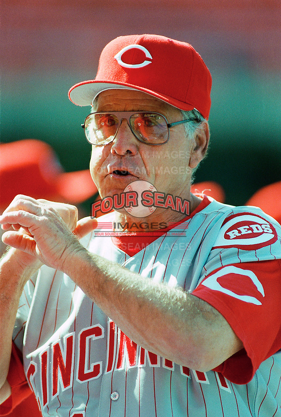 Cincinnati Reds Manager Jack McKeon during a game at Dodger Stadium in Los Angeles, California during the 1997 season.(Larry Goren/Four Seam Images)