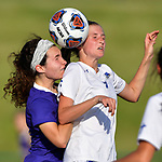 Rosati-Kain's Bridget Hurley (left) and Notre Dame's Livia Wunderlich leap for a header. Notre Dame High School (Cape Girardeau) defeated Rosati-Kain in the Class 2 girls quarterfinal game played at St. Louis University High School in St. Louis, MO on Wednesday May 22, 2019.<br /> Tim Vizer/Special to STLhighschoolsports.com