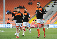 (r-l) Blackpool's Ben Heneghan, Jimmy Ryan, Jay Spearing and Antony Evans during the pre-match warm-up <br /> <br /> Photographer Kevin Barnes/CameraSport<br /> <br /> The EFL Sky Bet League One - Blackpool v Gillingham - Saturday 4th May 2019 - Bloomfield Road - Blackpool<br /> <br /> World Copyright © 2019 CameraSport. All rights reserved. 43 Linden Ave. Countesthorpe. Leicester. England. LE8 5PG - Tel: +44 (0) 116 277 4147 - admin@camerasport.com - www.camerasport.com