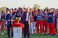 President Trump waves to the crowd during his introduction following round 4 Singles of the 2017 President's Cup, Liberty National Golf Club, Jersey City, New Jersey, USA. 10/1/2017. <br /> Picture: Golffile | Ken Murray<br /> <br /> All photo usage must carry mandatory copyright credit (&copy; Golffile | Ken Murray)