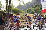 Mickael Delage, Leo Vincent (FRA) and Georg Preidler (AUT) Groupama-FDJ climb Sierra de la Alfaguara during Stage 4 of the La Vuelta 2018, running 162km from Velez-Malaga to Alfacar, Sierra de la Alfaguara, Andalucia, Spain. 28th August 2018.<br /> Picture: Eoin Clarke | Cyclefile<br /> <br /> <br /> All photos usage must carry mandatory copyright credit (&copy; Cyclefile | Eoin Clarke)