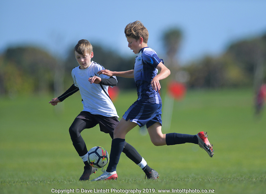 Boys' football. 2019 AIMS games at Gordon Spratt Park in Papamoa, New Zealand on Thursday, 12 September 2019. Photo: Dave Lintott / lintottphoto.co.nz