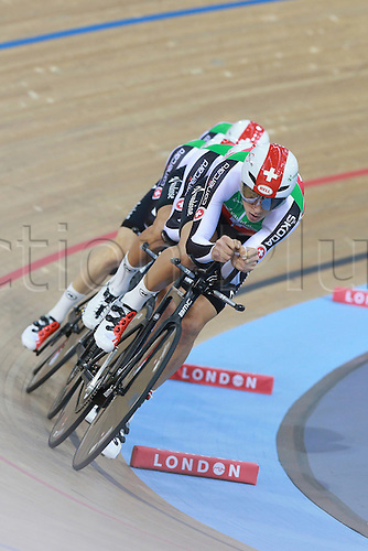 03.03.2016. Lee Valley Velo Centre, Lonodn England. UCI Track Cycling World Championships Mens Team Pursuit.  Team Switzerland<br />