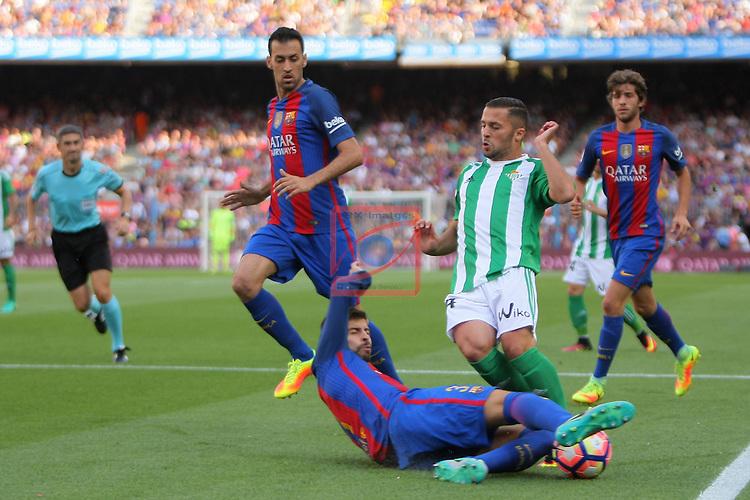 League Santander 2016/2017. Game: 1.<br /> FC Barcelona vs Real Betis: 6-2.<br /> Gerard Pique vs Durmisi.