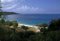 AJ2396, Anguilla, Caribbean, Caribbean Islands, Picturesque view of the Caribbean Sea and beach near The Valley on the island of Anguilla (a british territory).