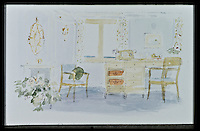 BNPS.co.uk (01202 558833)<br /> Pic: RYBritannia/BNPS<br /> <br /> Sketch of the Queens study.<br /> <br /> Sir Hugh Casson's original design sketches for the Royal Yacht have come to light - after his daughter Carola presented colour slides to the Trust in Leith, Edinburgh. <br /> <br /> The sketches of the yacht's state rooms, the vision of renowned architect Sir Hugh Casson, reveal the Queen's love of simple yet modern design.<br /> <br /> Britannia was launched in 1953, two months prior to the Queen's coronation, and clocked up more than one million miles up until 1997 when it was decomissioned.<br /> <br /> Sir Hugh was commissioned to put forward ideas after the Queen and the Duke of Edinburgh shunned original designs put forward by the yacht's builders.<br /> <br /> Far from the majesty of their Victorian palaces, the Royal couple wanted the yacht to be a contemporary 'home from home'.<br /> <br /> Britannia Trust head Bob Downey said 'It is a testament to Sir Hugh's skills that the Queen never updated his stylish original designs.'