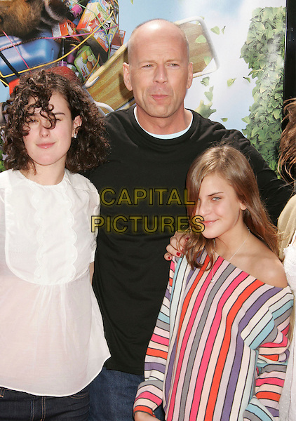 """BRUCE WILLIS, TALLULAH BELLE & RUMOUR .""""Over The Hedge"""" Los Angeles Premiere held at the Mann Village Theater, Westwood, California, USA..April 30th, 2006.Photo: Russ Elliot/AdMedia/Capital Pictures.Ref: RE/ADM.half length father daughters family siblings.www.capitalpictures.com.sales@capitalpictures.com.© Capital Pictures."""