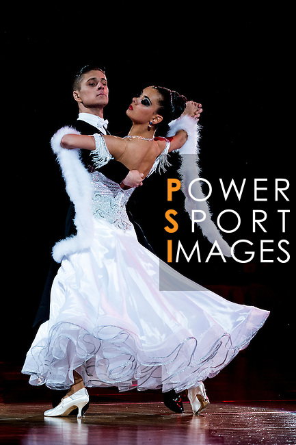 Alexey Glukhov and Anastasia Glazunova of Russia during the WDSF GrandSlam Standard on the Day 2 of the WDSF GrandSlam Hong Kong 2014 on June 01, 2014 at the Queen Elizabeth Stadium Arena in Hong Kong, China. Photo by AItor Alcalde / Power Sport Images