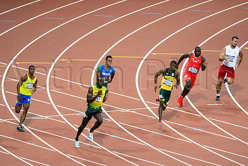 08.08.2012 London, England. Jamaicas Usain Bolt (JAM) wins semifinal 2 of the Mens 200m during the Athletics on Day 12 of the London 2012 Olympic Games at the Olympic Stadium.