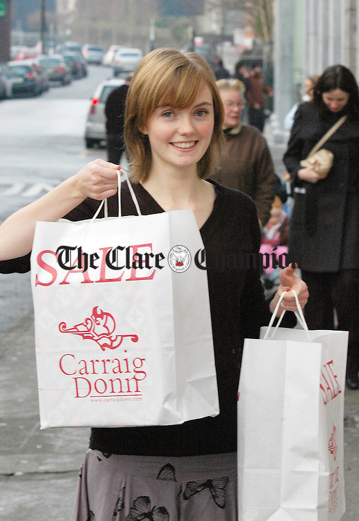 Niamh Cremins,Ennis, checks out the first day of sales in ennis.Pic Arthur Ellis.