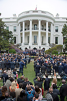 United States President Donald J. Trump poses for a team photo after welcoming the Super Bowl Champion New England Patriots to the South Lawn of White House in Washington, DC on Wednesday, April 19, 2917.<br /> Credit: Ron Sachs / CNP/MediaPunch<br /> <br /> (RESTRICTION: NO New York or New Jersey Newspapers or newspapers within a 75 mile radius of New York City)