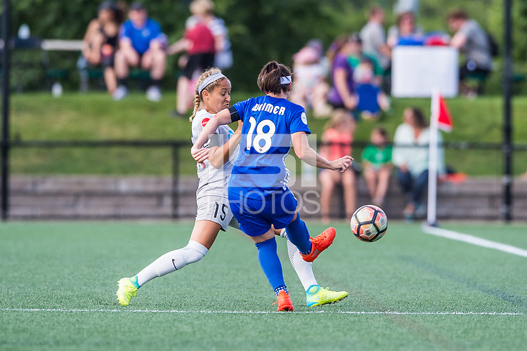 Boston, MA - Saturday June 24, 2017: Jaelene Hinkle and Tiffany Weimer during a regular season National Women's Soccer League (NWSL) match between the Boston Breakers and the North Carolina Courage at Jordan Field.