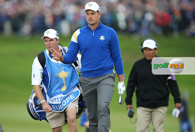 Henrik Stenson (EUR) during Sunday's Singles at the 2014 Ryder Cup from Gleneagles, Perthshire, Scotland. Picture:  David Lloyd / www.golffile.ie