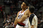 04/03/11--Portland's Nicolas Batum pleads his case with a referee during the Blazers-Mavericks game at the Rose Garden in Portland, Or..Photo by Jaime Valdez........................................