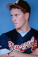 Tom Glavine of the Atlanta Braves participates in a Major League Baseball game at Dodger Stadium during the 1998 season in Los Angeles, California. (Larry Goren/Four Seam Images)