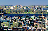 Massachusetts Institute of Technology [ MIT ]  View of back bay row houses and the Charles River. Boston