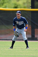 Tampa Bay Rays minor league outfielder Thomas Milone (27) during an extended spring training game against the Boston Red Sox on April 16, 2014 at Charlotte Sports Park in Port Charlotte, Florida.  (Mike Janes/Four Seam Images)