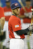 March 6, 2009:  Second baseman Dustin Pedroia (15) of Team USA during the first round of the World Baseball Classic at the Rogers Centre in Toronto, Ontario, Canada.  Team USA defeated Canada 6-5 in both teams opening game of the tournament.  Photo by:  Mike Janes/Four Seam Images