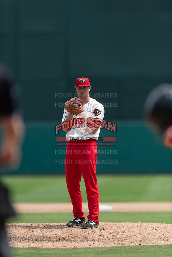 Fresno Grizzlies relief pitcher Dakota Bacus (27) pitches during a game against the Reno Aces at Chukchansi Park on April 8, 2019 in Fresno, California. Fresno defeated Reno 7-6. (Zachary Lucy/Four Seam Images)