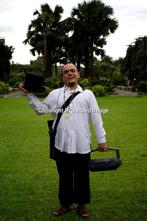 Manila's treasured tour guide, cultural activist, and performing artist, Carlos Celdran poses for a portrait in the grounds in Fort Santiago of Intramuros in Manila, Philippines. Carlos is also considered one of the best travel guides in the world. Photo: Sanjit Das