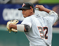 INF Garabez Rosa (32) of the Delmarva Shorebirds, No. 27 top prospect of the Baltimore Orioles, in a game against the Greenville Drive on Opening Day, April 8, 2010, at Fluor Field at the West End in Greenville, S.C. Photo by: Tom Priddy/Four Seam Images
