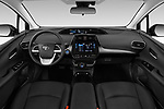 Stock photo of straight dashboard view of 2018 Toyota Prius-Prime Plus 5 Door Hatchback Dashboard