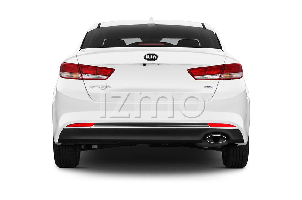 Straight rear view of 2016 KIA Optima LX Turbo 4 Door Sedan stock images