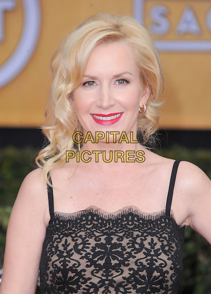 Angela Kinsey.Arrivals at the 19th Annual Screen Actors Guild Awards at the Shrine Auditorium in Los Angeles, California, USA..27th January 2013.SAG SAGs headshot portrait red lipstick  black lace  .CAP/DVS.©DVS/Capital Pictures.