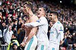 Real Madrid Cristiano Ronaldo, Lucas Vazquez and Marco Asensio celebrating a goal during Champion League match between Real Madrid and Juventus at Santiago Bernabeu Stadium in Madrid, Spain. April 11, 2018. (ALTERPHOTOS/Borja B.Hojas)