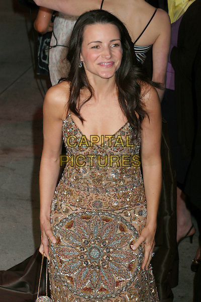 KRISTIN DAVIS.2006 Vanity Fair Oscar Party held at Morton's, West Hollywood, California, USA, 05 March 2006..oscars half length gold brown bronze beaded dress .Ref: ADM/RE.www.capitalpictures.com.sales@capitalpictures.com.©Russ Elliot/AdMedia/Capital Pictures.