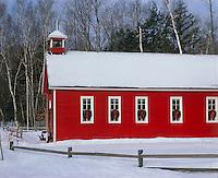 Leelanau County, MI<br /> Fresh snow on red schoolhouse