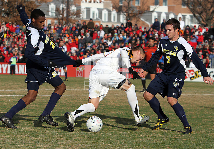 of the University of Maryland of the University of Michigan during an NCAA quarter-final match at Ludwig Field, University of Maryland, College Park, Maryland on December 4 2010.Michigan won 3-2 AET.