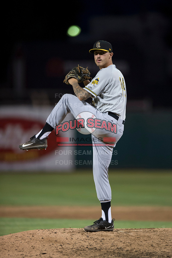 Salt Lake Bees relief pitcher Ralston Cash (14) prepares to deliver a pitch during a Pacific Coast League game against the Fresno Grizzlies at Chukchansi Park on May 14, 2018 in Fresno, California. Fresno defeated Salt Lake 4-3. (Zachary Lucy/Four Seam Images)