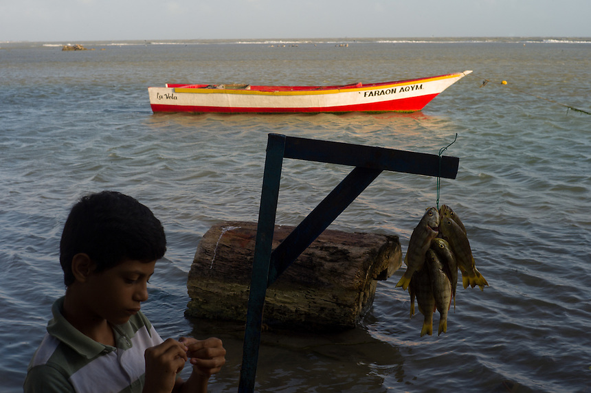 A boy waits as fishermen bring in the morning catch in the colonial village of Adícora on Venezuela's Paraguaná Peninsula, Dec. 12, 2015. The remote desert peninsula in the Caribbean Sea lays bare the effects of Venezuela's politicized economy after 17 years under Hugo Chavez and successor Nicolas Maduro.
