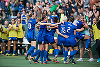 Seattle, WA - Saturday, July 1, 2017:  Seattle Reign FC celebrates during a regular season National Women's Soccer League (NWSL) match between the Seattle Reign FC and the Portland Thorns FC at Memorial Stadium.