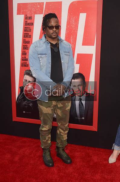"Open Mike Eagle<br /> at the ""Tag"" World Premiere, Village Theater, Westwood, CA 06-07-17<br /> David Edwards/DailyCeleb.com 818-249-4998"
