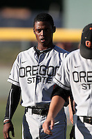 Brian Stamps #4 of the Oregon State Beavers before game against the UCLA Bruins at Jackie Robinson Stadium in Los Angeles,California on April 29, 2011. Photo by Larry Goren/Four Seam Images